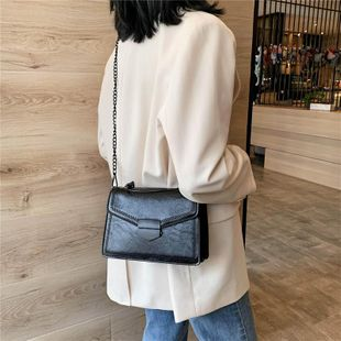 Spring new wild messenger bag retro fashion small square bag soft leather bag wholesale NHTC204255's discount tags