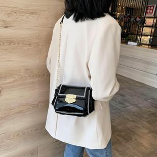 New Fashion Chain Messenger Bag Wild Patent Small Square Bag Wholesale NHTC204258's discount tags