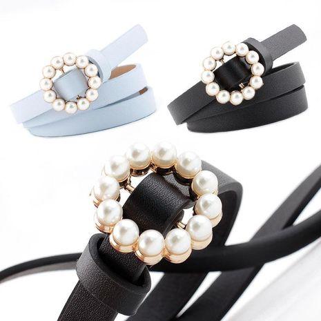 New ladies faux leather belt Korean fashion sweet belt pearl buckle decorative belt women wholesale NHPO204280's discount tags