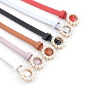 New ladies faux leather belt Korean fashion sweet belt pearl buckle decorative belt women wholesale NHPO204280