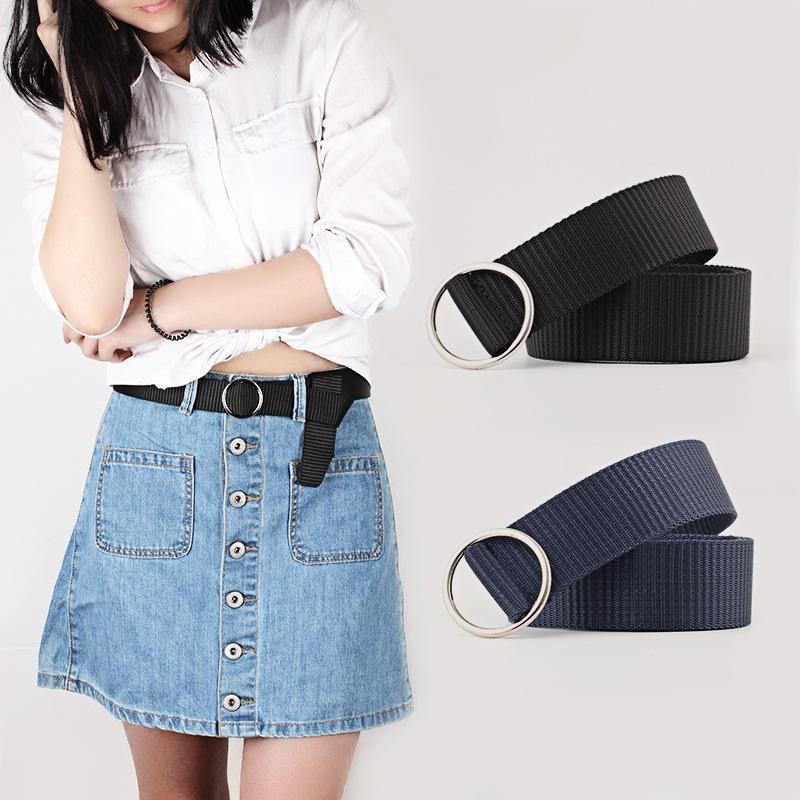 New Canvas Belt Round Buckle Fashion Casual Decoration Wild Pants Belt Fine Belt NHPO204283