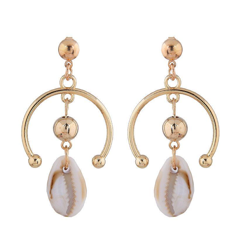 Fashion metal simple sea shell classic earrings wholesale NHSC204298