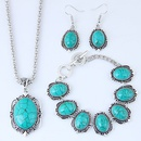 Metal Inlaid Turquoise Simple Necklace Earring Bracelet Set NHSC204296