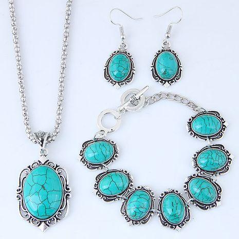 Métal incrusté turquoise simple collier boucle d'oreille bracelet ensemble NHSC204296's discount tags