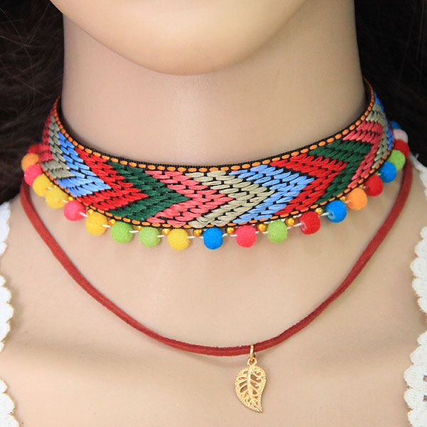 Children's Fun Geometric Color Rope Cotton Ball Double Necklace Ladies Necklace NHSC204295