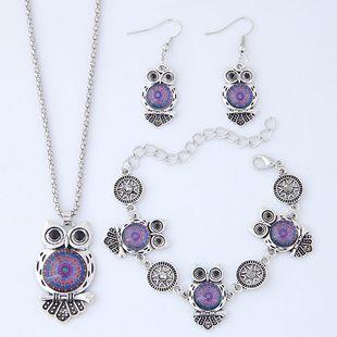 Fashion Metal Wild Vintage Owl Necklace Bracelet Earring Set NHSC204293's discount tags