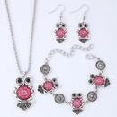Fashion Metal Wild Vintage Owl Necklace Bracelet Earring Set NHSC204293