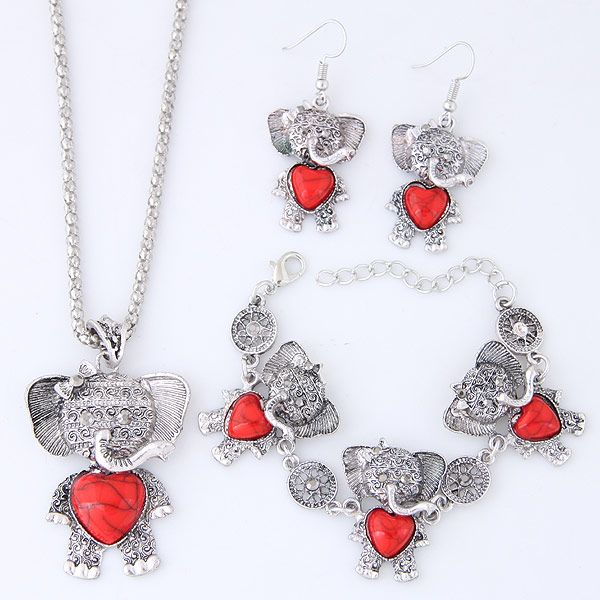 New Fashion Metal Inlaid Turquoise Cute Bear Necklace Earring Bracelet Set NHSC204292