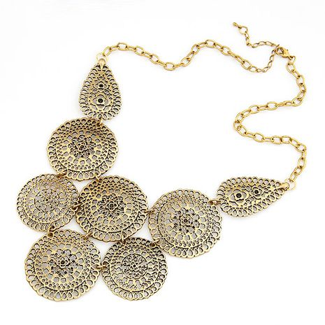 Fashion Vintage Metal Hollow Flower Buds Wild Necklace Wholesale NHSC204290's discount tags