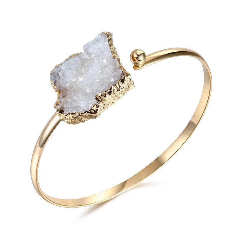 New Fashion Adjustable Natural Stone Bangle Irregular Crystal Bangle Bracelet Wholesale NHGO204354