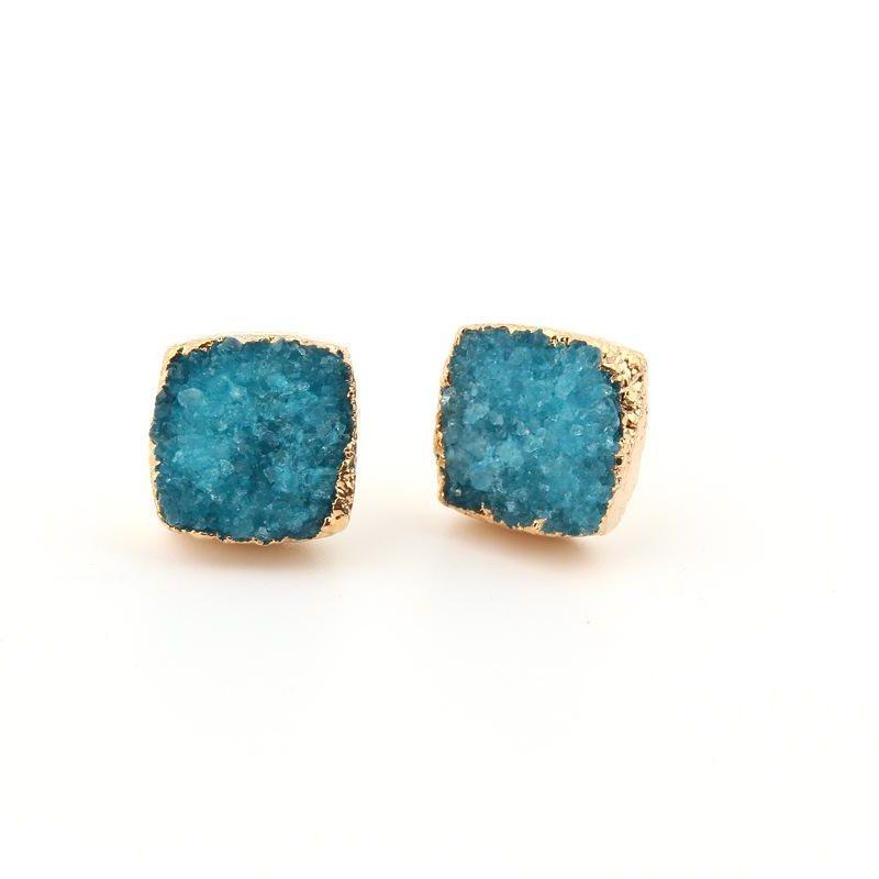 Jewelry New Small Square Natural Stone Ear Studs Bud Ear Earrings Crystal Earrings Druzy NHGO204360