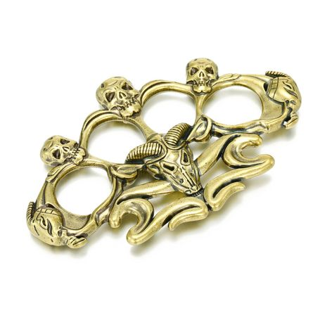 Copper vintage joint ring skull game ring bronze bull head hand expanded metal bracelet NHGO204361's discount tags