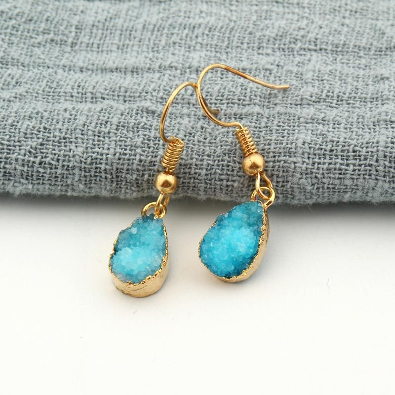 Jewelry Petite Water Drops Natural Stone Ear Studs Crystal Buds Earrings Spar Earrings Druzy NHGO204365