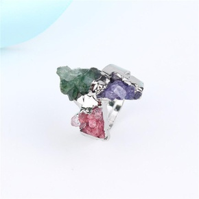 New Fashion Natural Stone Irregular Ring Adjustable Flower Ring Wholesale NHGO204369