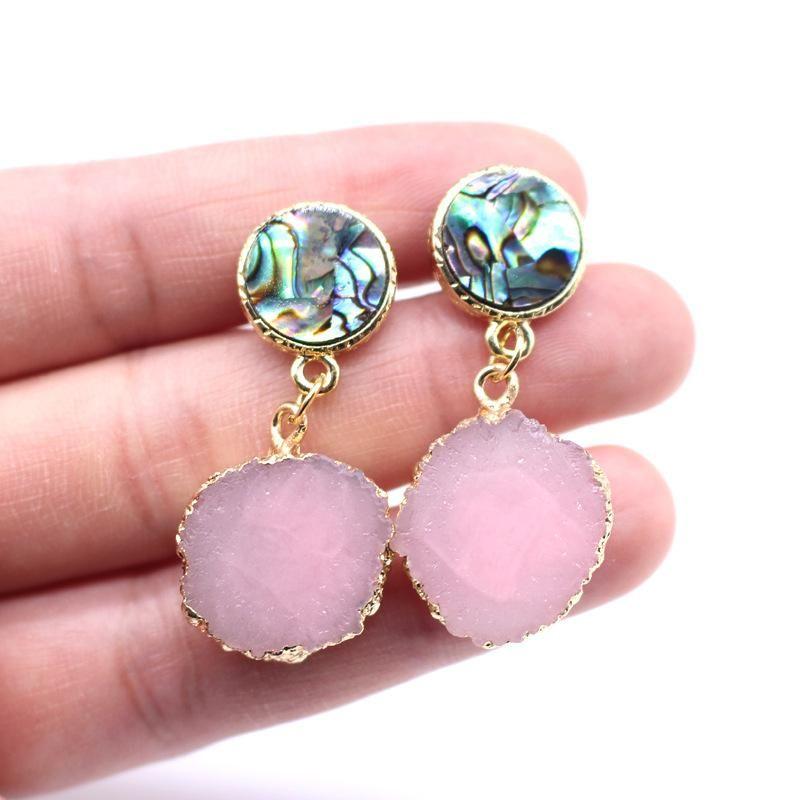 Jewelry abalone earrings imitation natural stone earrings sun flower earrings NHGO204370
