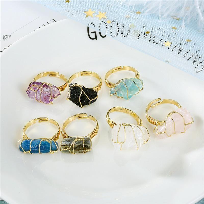 New fashion natural stone amethyst ring around silk ring wholesale NHGO204372