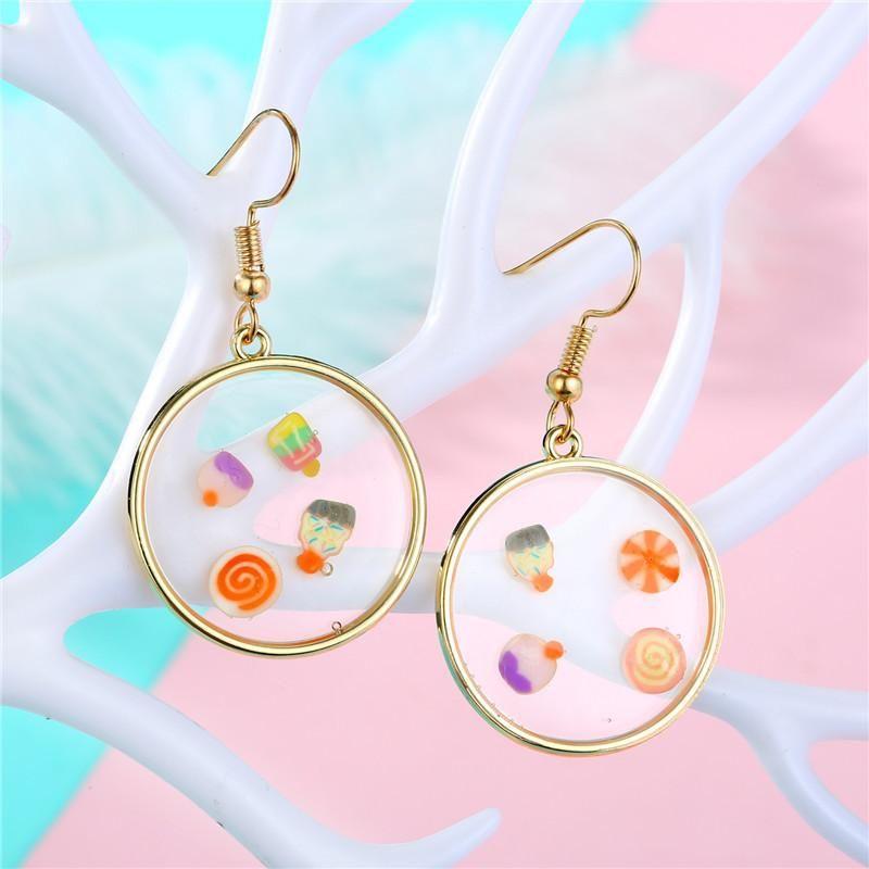 Geometric Epoxy Earring Bag Ear Studs Fruit Piece Earrings NHGO204377