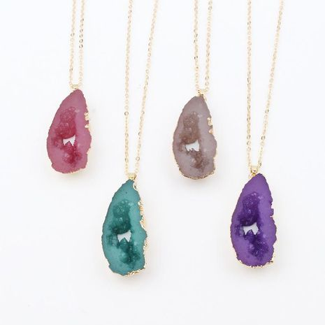 Jewelry hollow resin necklace new exaggerated imitation natural stone pendant necklace NHGO204382's discount tags