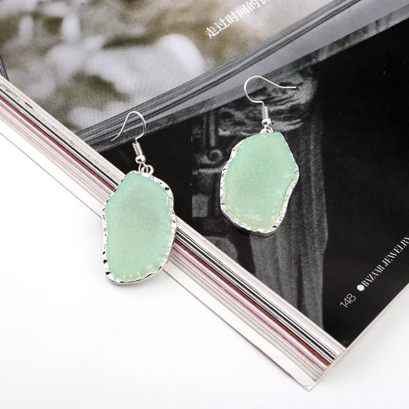 Jewelry scum earrings imitation natural stone earrings long earrings resin earrings NHGO204383