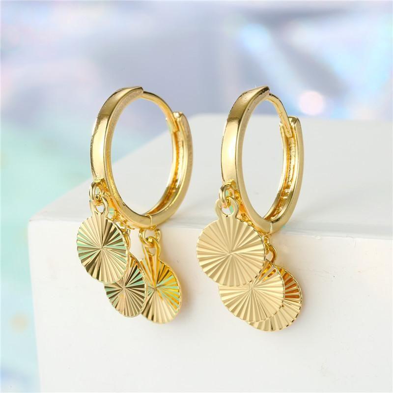 New fashion multi-layer fringed pendant earrings geometric sequin earrings wholesale NHGO204385