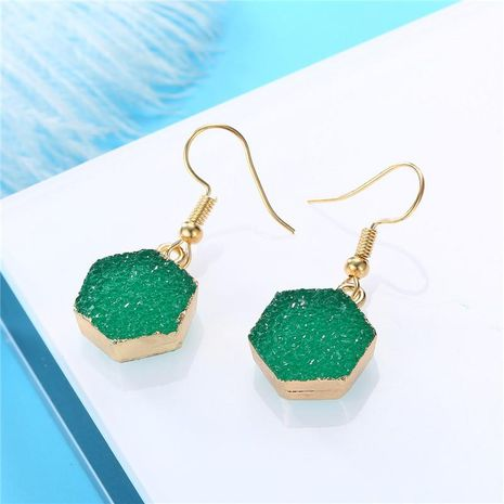 New fashion imitation natural stone earrings hexagon earrings retro earrings wholesale NHGO204387's discount tags