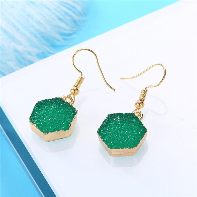 New fashion imitation natural stone earrings hexagon earrings retro earrings wholesale NHGO204387
