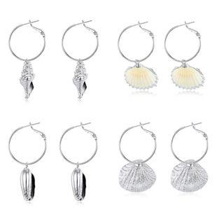Nueva moda pendientes de concha natural pendientes de concha de plata pendientes al por mayor NHGO204388's discount tags