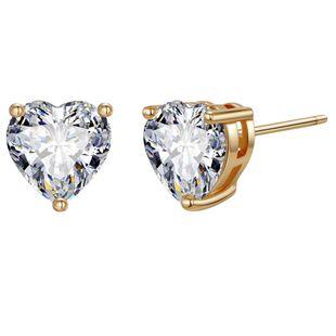 Color retention copper love zircon earrings retro simple small earrings ladies earrings Yiwu earrings NHGO204396's discount tags
