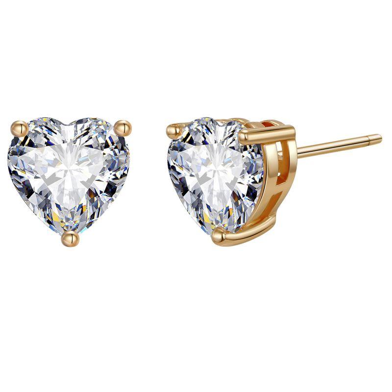 Color retention copper love zircon earrings retro simple small earrings ladies earrings Yiwu earrings NHGO204396