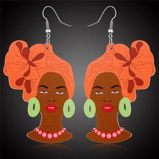 Nueva mujer modelo pendientes de moda multicolor pendientes retro de madera al por mayor NHGO204403's discount tags