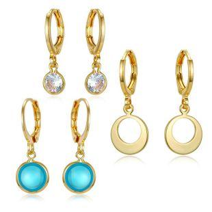 New Fashion Zircon Earrings Round Crystal Earrings Mini Retro Zircon Ring Earrings NHGO204412's discount tags
