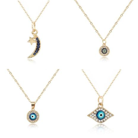New Simple Eye Necklace Spot Diamond Fatima Palm Pendant Ball Moon Necklace Jewelry NHGO204413's discount tags
