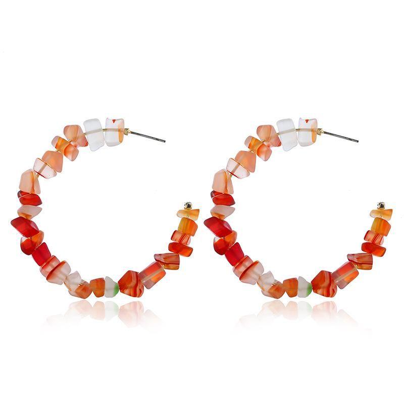 Fashion boho beach wind crushed stone earrings hand-beaded big circle C-shaped turquoise NHLN204415