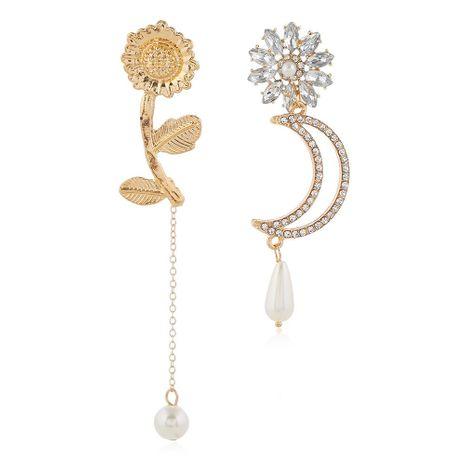 Alloy sunflower flower diamond moon pearl earrings asymmetric earrings for women NHLN204416's discount tags