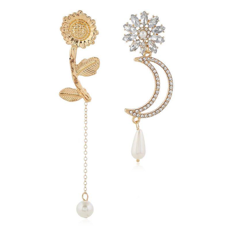 Alloy sunflower flower diamond moon pearl earrings asymmetric earrings for women NHLN204416