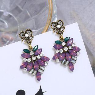 Alloy diamond floral earrings for women retro color rhinestone long earrings NHLN204417's discount tags