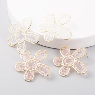 S925 Silver Needle Korean Fashion Hollow Handmade Crystal Flower Ear Studs Three-dimensional Petal Earrings NHLN204418's discount tags