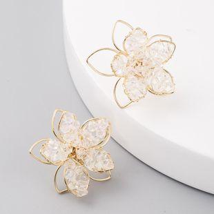 Korean delicate crystal hollow flower earrings for women S925 silver needle earrings NHLN204419's discount tags