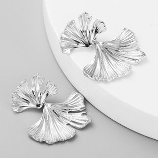 S925 silver needle Korean simple fashion metal ginkgo leaf earrings women NHLN204423's discount tags