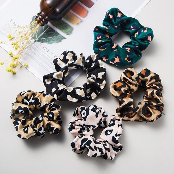 Fashion Leopard Fabric Hair Band Korean Large Hair Rope Cheap Rubber Band Head Rope Wholesale NHLN204424