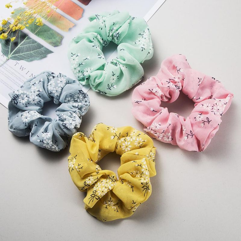 Korean simple and sweet wild hair ring printing chiffon rubber band cheap hair accessories wholesale NHLN204426