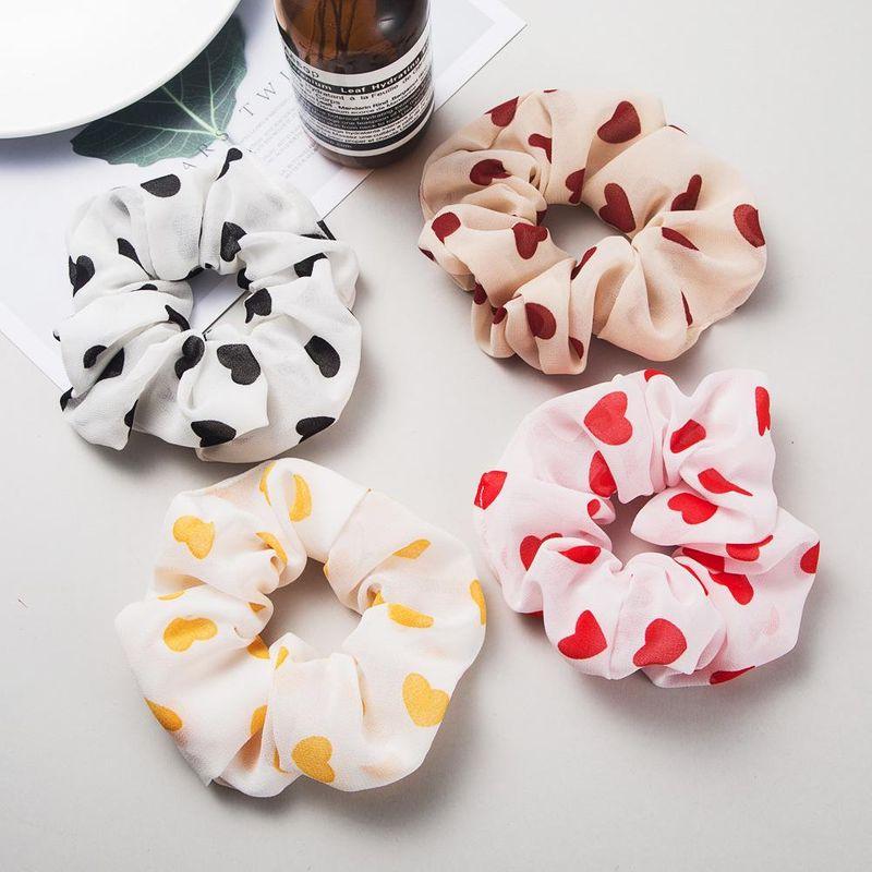 Bunny heart-shaped printed fabric hair ring female cute rubber band cheap hair rope NHLN204427
