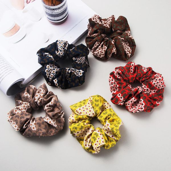 Spring new retro flower printing cloth hair ring cheap rubber band hair rope women NHLN204428