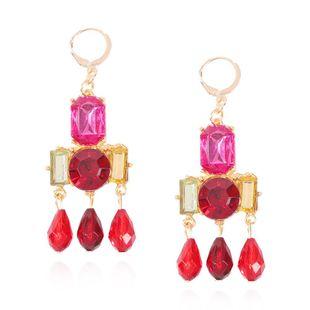 Nuevos aretes coloridos moda diamantes coloridos diamantes completos pendientes largos flecos mujeres NHMD204434's discount tags