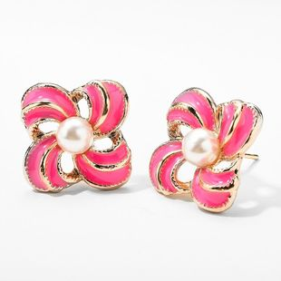 Korean new candy-colored earrings dripping oil and pearl sweet earrings NHMD204437's discount tags