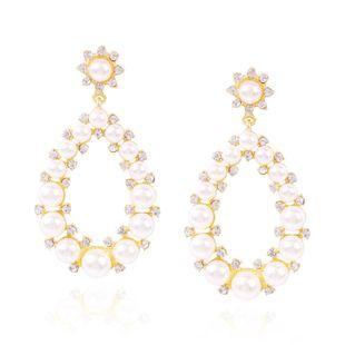 Aretes de perlas simples de moda pendientes de diamantes ovalados geométricos mujeres NHMD204443's discount tags