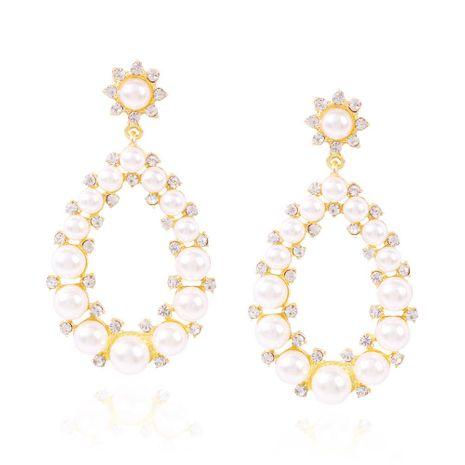 Fashion simple pearl earrings geometric oval diamond hollow earrings women NHMD204443's discount tags