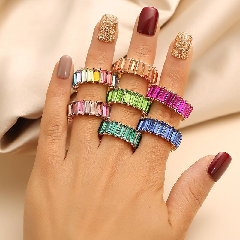 New Fashion Super Flash Crystal Exaggerated Ring Vintage Gem Color Square Diamond Round Ring NHKQ204446