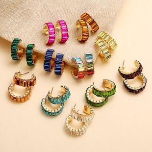 Aretes de diamantes de imitación con micro incrustaciones de color vintage coreano nuevos pendientes en forma de C NHKQ204447's discount tags