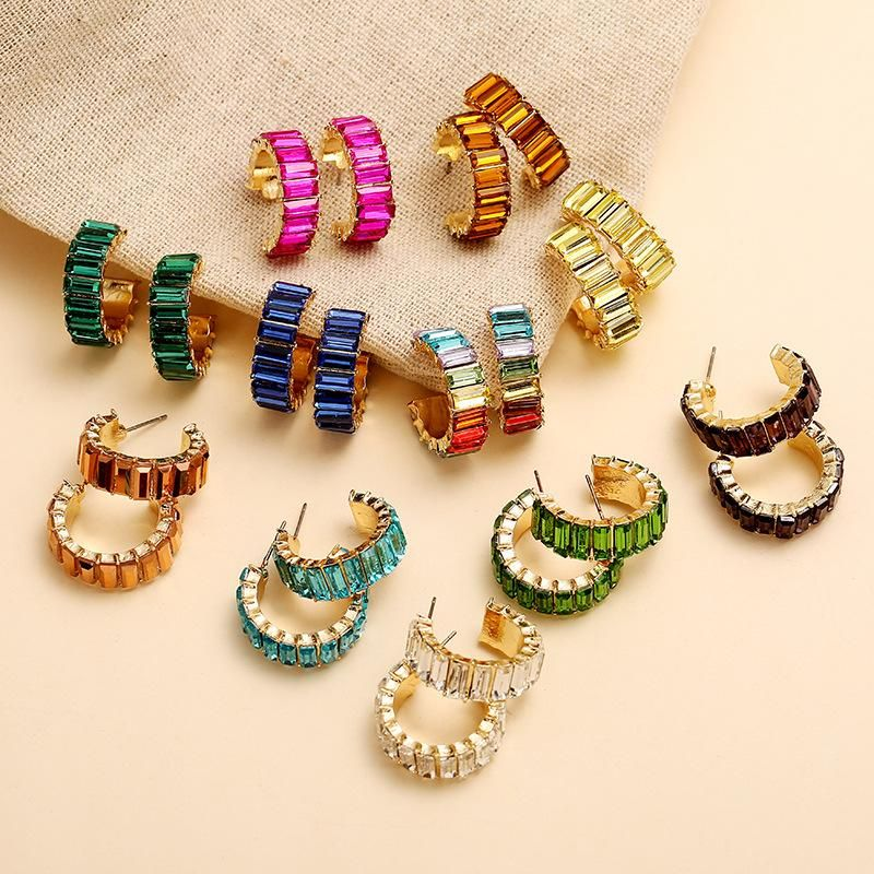 Korean vintage color micro inlaid rhinestone earrings new C-shaped earrings NHKQ204447